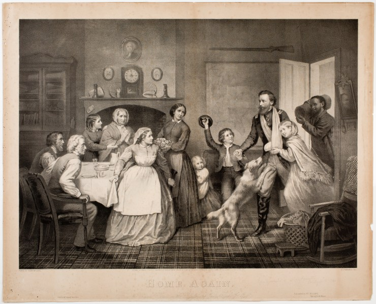 This lithograph was printed the year Parton was here, a year after the Civil War had ended. It is based on a painting by Pittsburgh-area artist Trevor McClurg. An injured Union veteran returns home. The sentimental scene would have been very appealing to families in the North who were welcoming back their fathers, sons, and brothers. The scene includes interior details that show an adaptation to soot.