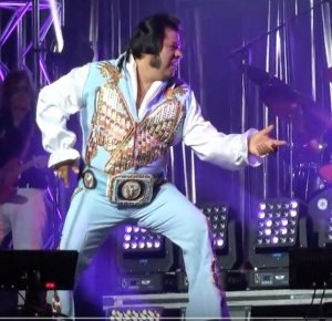 TJ Jackson sports a meticulously beaded outfit in a style suited to both Elvis and Native American traditions