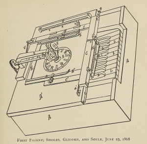 "Early ""literary piano."" It's resulting typewritten sheets were hidden inside until you brought them out."