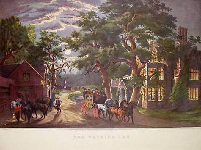 "Currier & Ives print of a wayside inn in Sudbury, MA, made famous in the epic (read that ""long"") poem ""Tales of the Wayside Inn"" by Henry Wadsworth Longfellow. Feeding off its literary fame, the inn still operates."