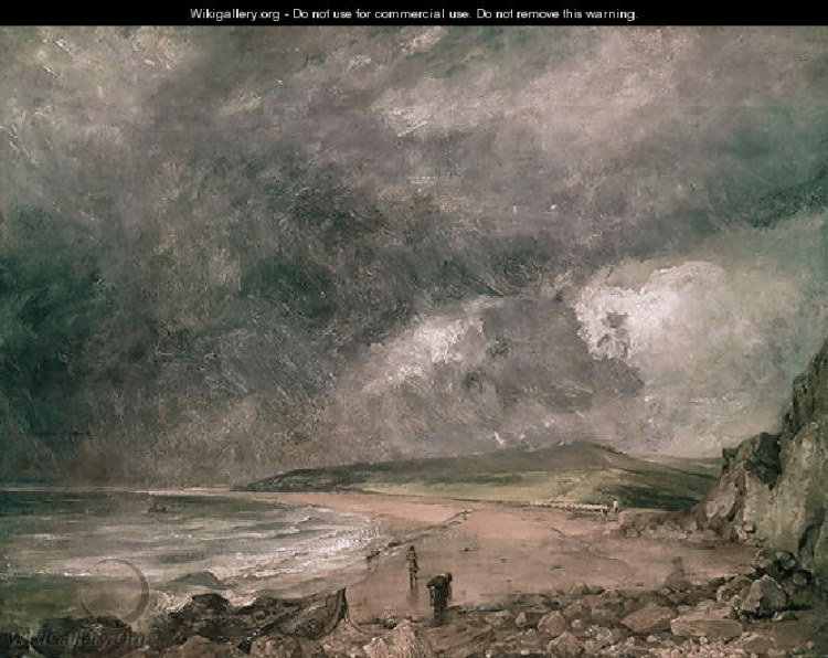 """Storms were more severe in the """"summer"""" of 1816 as captured in this painting of one approaching Weymouth Bay in England by John Constable."""