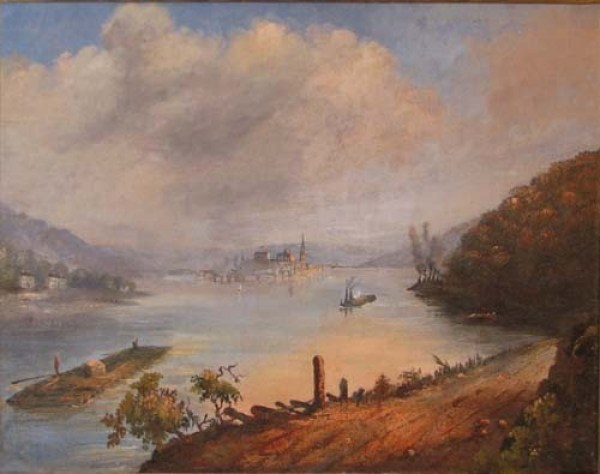 Looking up the Ohio River toward the just-chartered city of Pittsburgh in 1817