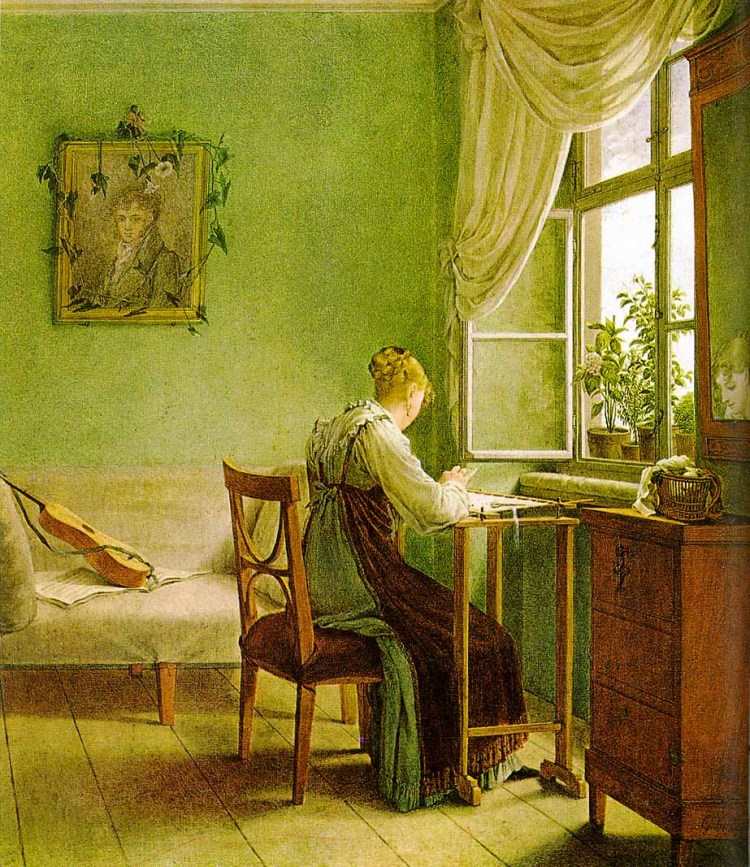 Painting of girl embroidering, by Georg Friedrich Kersting. Note the apron. I don't know the significance of the decorated portrait. If anyone knows, fill in the rest of us.