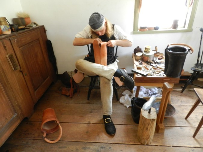 Making boots at Old Sturbridge Village in Massachusetts the same way they did in Pittsburgh in 1816.