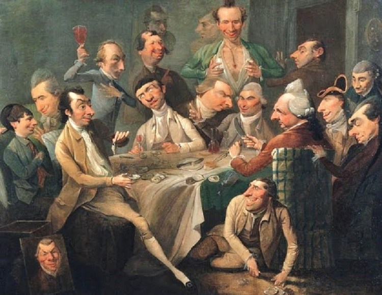 Caricature of a group of 1768 drinkers by John Hamilton Mortimer, a British painter. The Americans at the Old Stone Tavern inherited their drinking culture from the British. Most Americans, of course, had been British until 1776.