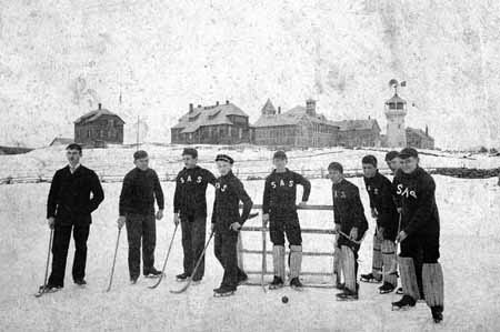 "Ice polo team on ""Duck Pond"" at Storrs, Connecticut, 1890s."