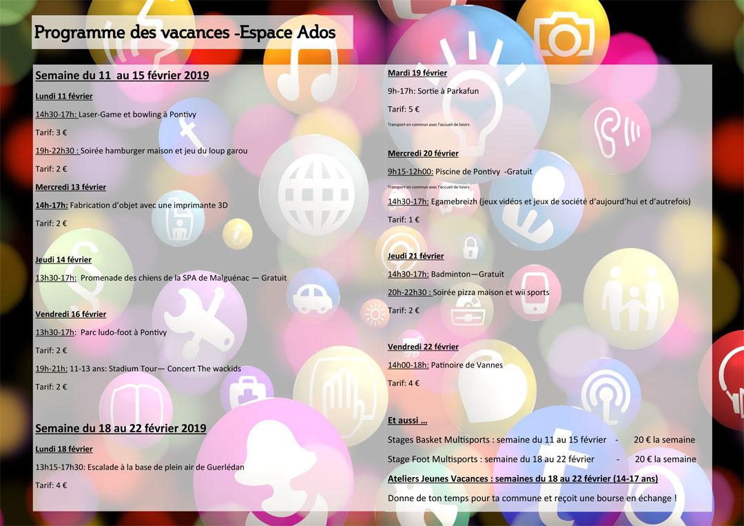 Programme Ado Février 2019