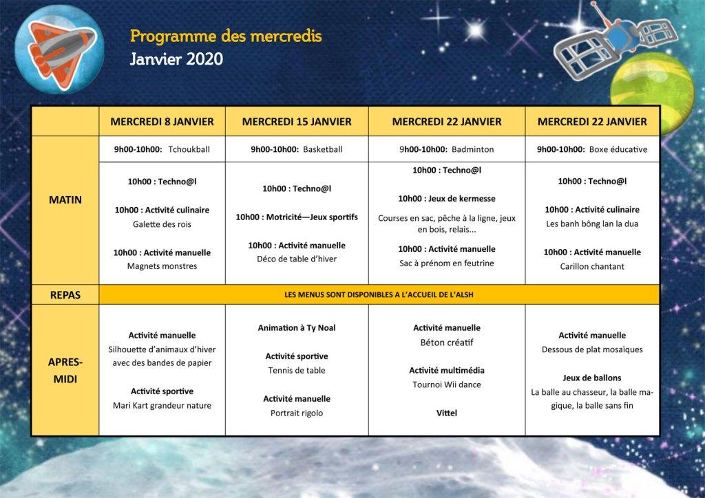 Programme des mercredis Janvier 2020
