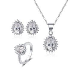 """סט תכשיטים """"טיפה"""" שרשרת, טבעת ועגילים"""