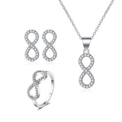 """סט תכשיטים """"אינפיניטי"""" שרשרת, טבעת ועגילים"""