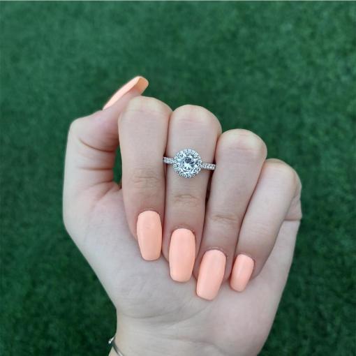 טבעת כסף עגולה משובצת