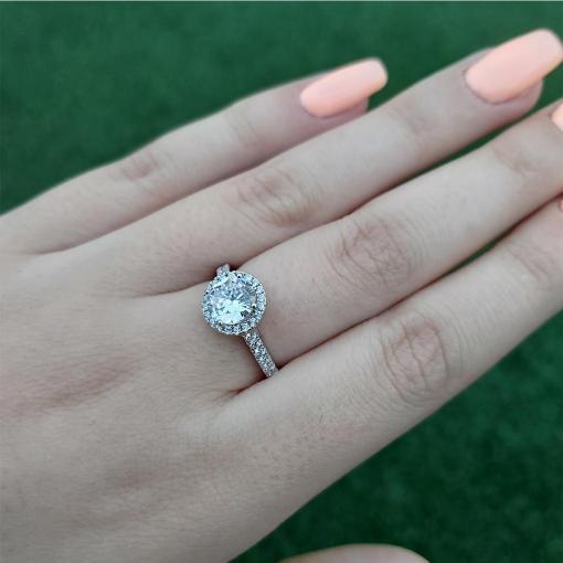 טבעת כסף משובצת