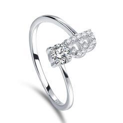 טבעת כסף עם אות משובצת זרקונים