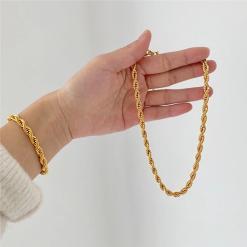 צמיד ושרשרת חבל זהב