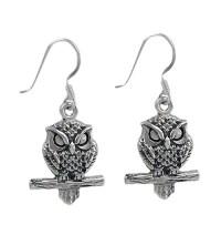 Owl Dangle Earring, Sterling Silver - Noyes Jewellers