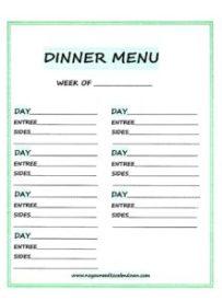 Weekly Dinner Menu - Free Printable