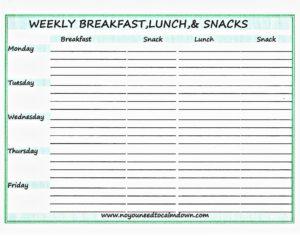 Breakfast & Lunch Printable