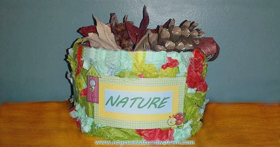 Kids love rock collecting, and can't seem to pass up a leaf or pinecone either! These things can start to make a mess in your house. Catch them at the door for a beautiful display in this DIY nature container!