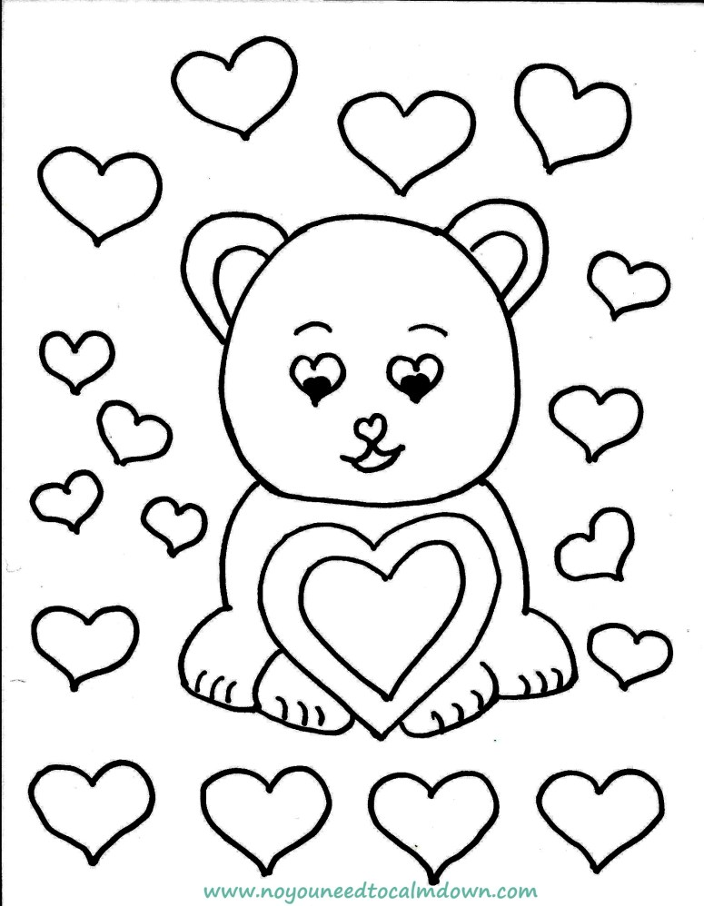 bear valentine's day coloring page