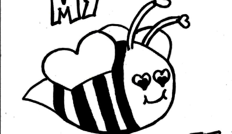Cute Bee Valentine's Day Coloring Page
