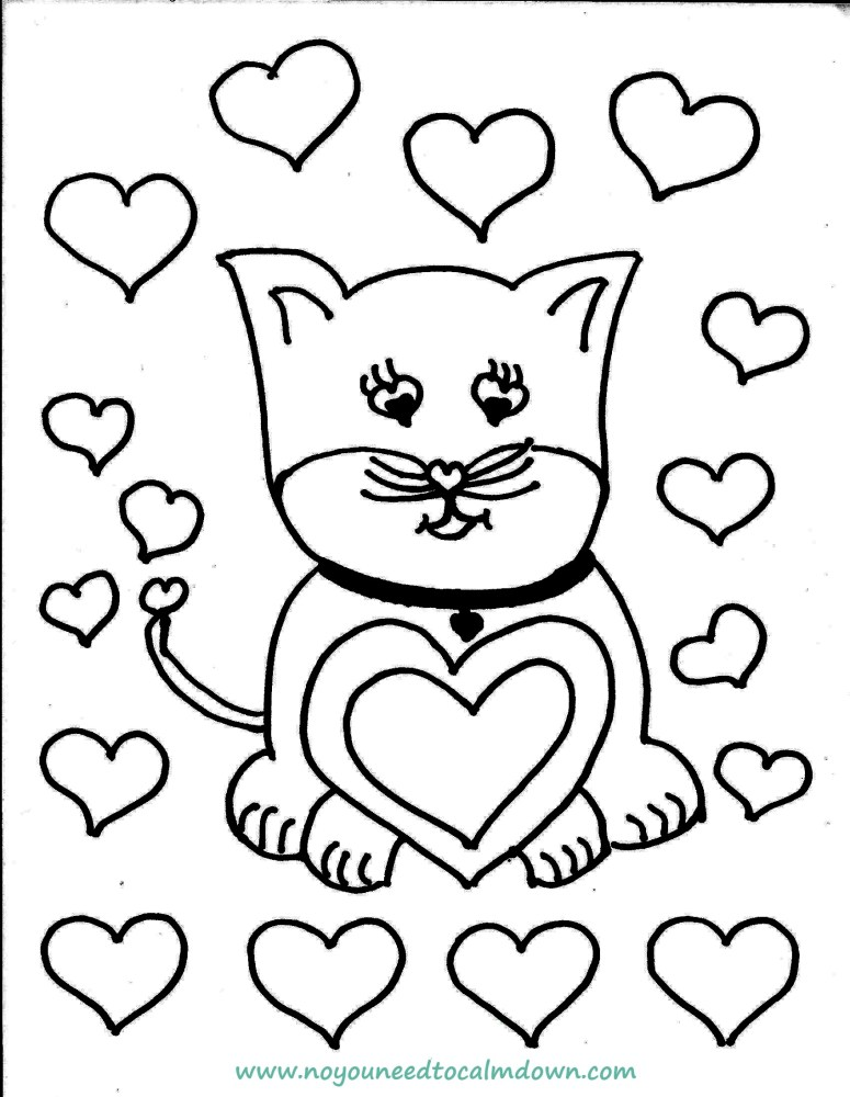 cute cat valentine's day coloring page printable