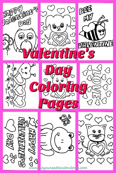 "Cute Valentine's Day coloring pages for kids! These are free printables with a simple design for young artists. Choose from an owl,dog,bee,lovebug,bear,""Love,""Happy Valentine's Day"", frog and cat. #valentinesday #kidscoloringpages #freeprintables #valentinesdaycraft"