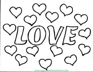 """LOVE"" Valentine's Day Coloring Page"