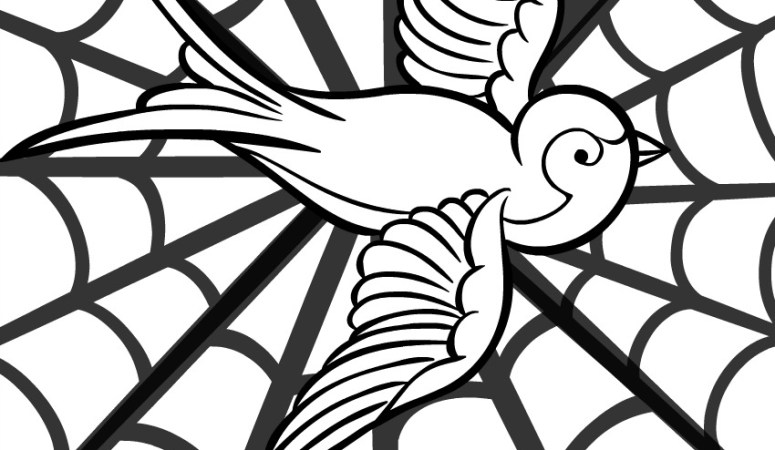 Webbed Bird Adult Coloring Page