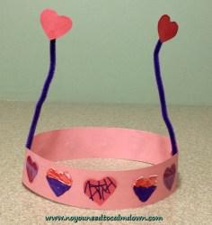 heart crown valentine's day craft