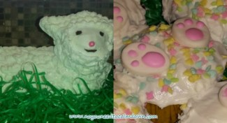 Easter Lamb Cake and Cupcakes