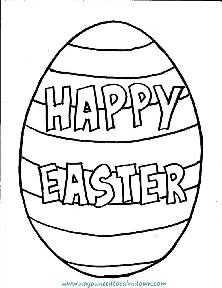 """""""Happy Easter"""" Egg Coloring Page for Kids - Free Printable ..."""