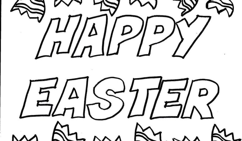 """Happy Easter"" Coloring Page for Kids – Free Printable"