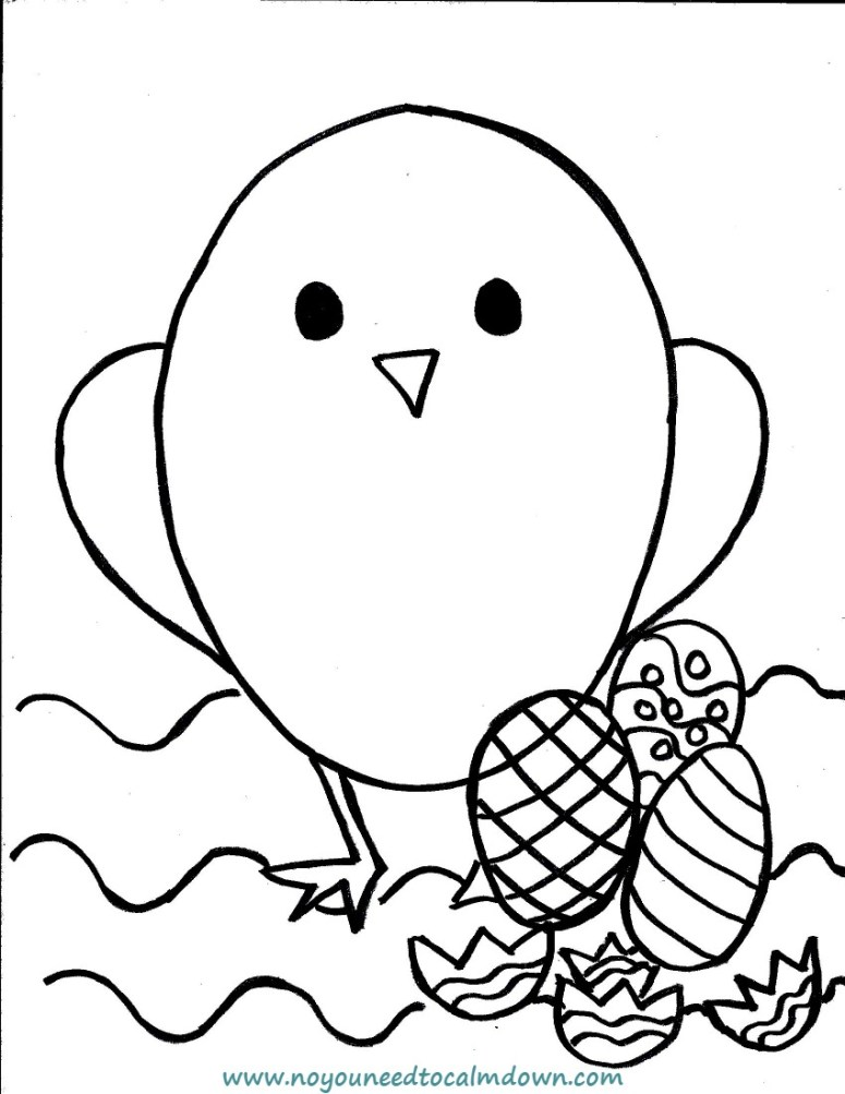 Easter Chick Coloring Page for Kids Free Printable No YOU