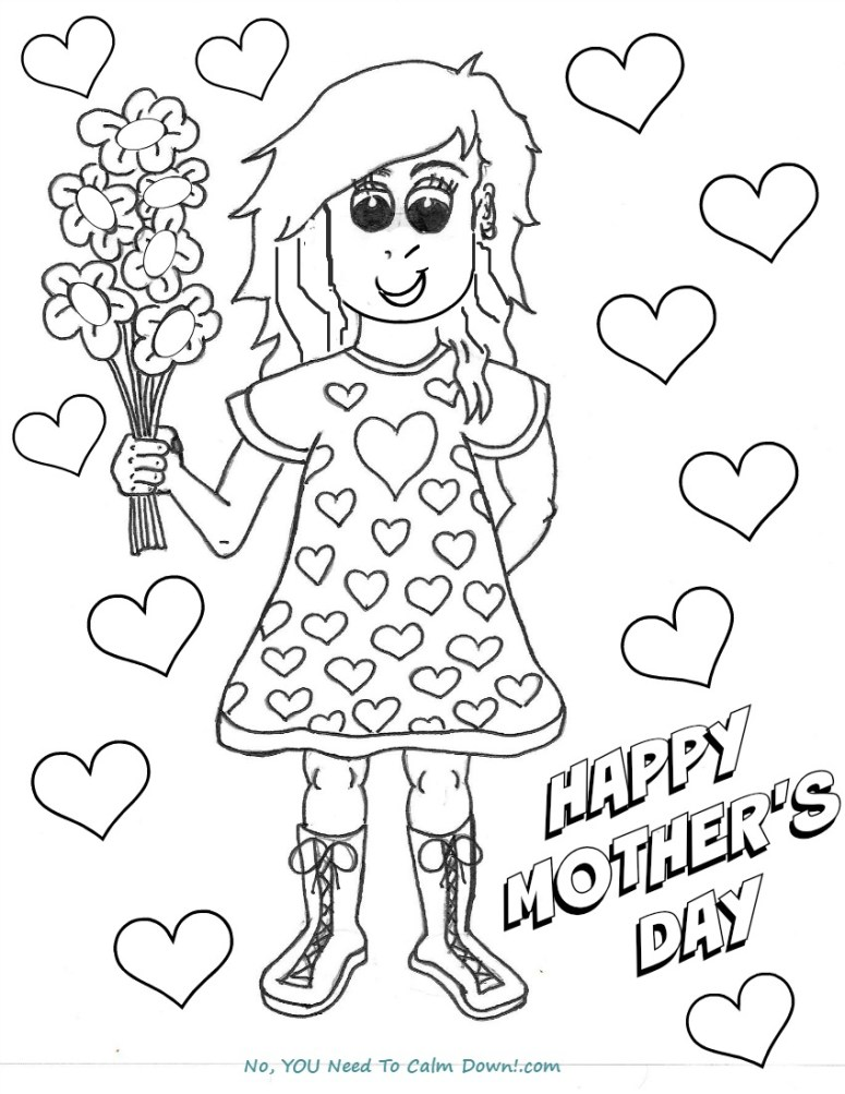 Girl With Flowers Mother's Day coloring page - free printable