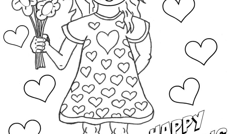 girl with flowers mothers day coloring page free printable - Mothers Day Coloring Pages Free
