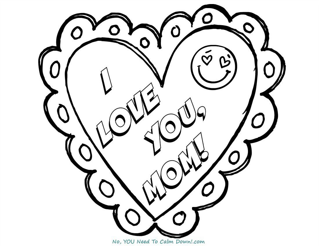 I Love You Mom Mothers Day Coloring Page Free Printable No