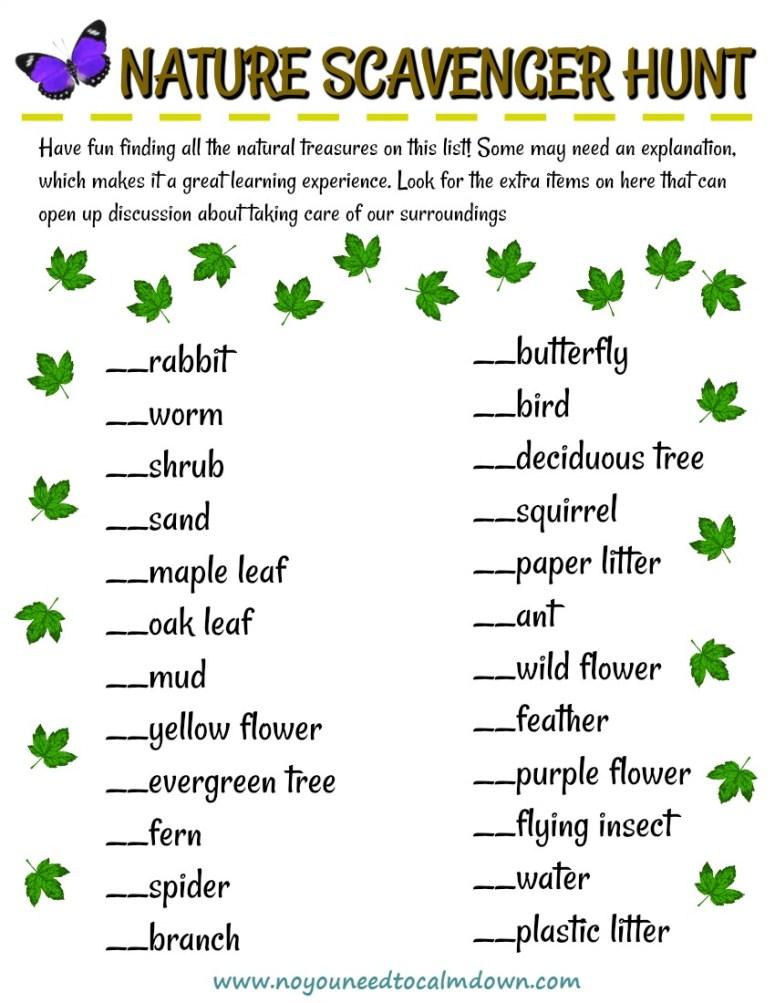 Nature Scavenger Hunt - Free Printable!