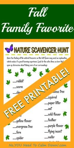 Nature Scavenger Hunt Free Printable