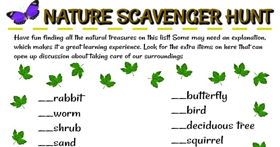 Nature Scavenger Hunt - Free Printable!