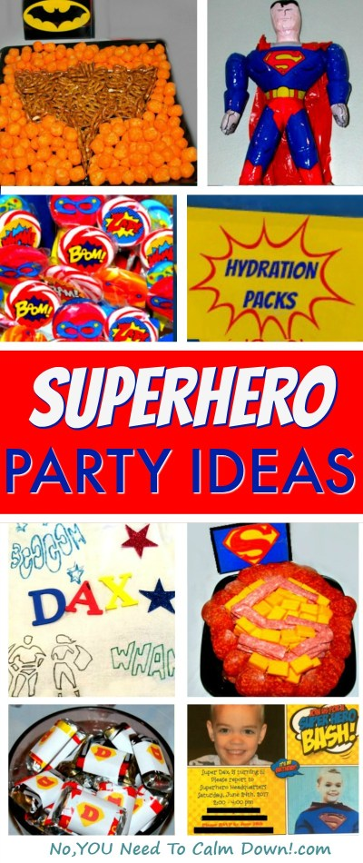 Superhero Party ideas! Every detail to have a Superfun Superhero party for kids! Give them a memorable birthday, using these exact ideas, or steal a few and then plan your own. There's Superhero Decorations, Superhero Treat Bags and Favors, Superhero Cake and Cupcakes, Superhero Games and Activities, Superhero Food and Drinks, Superhero Invitations and even Superheroes!