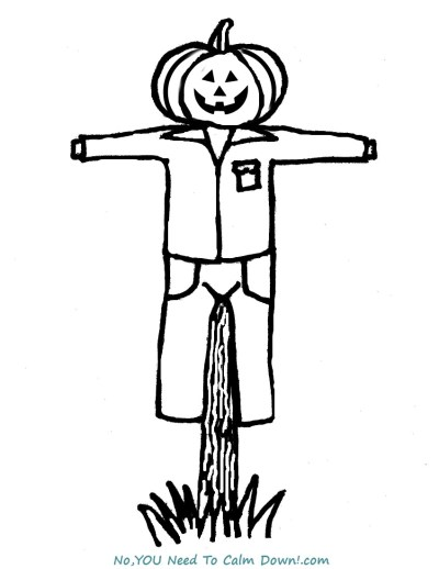 Scarecrow coloring page for kids. This is a free printable that has a simple design for young artists! #halloween #kidscoloringpage # freeprintable #scarecrow