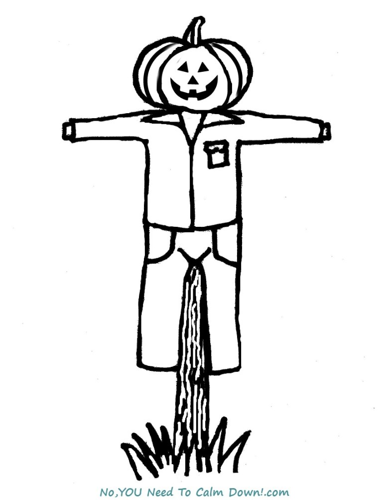Scarecrow Coloring Page For Kids Free Printable No You Need To