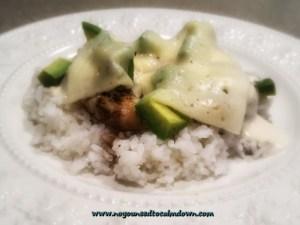 balsamic chicken alfredo with avocado and havarti