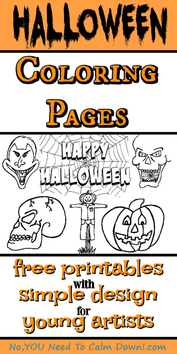 Halloween coloring pages for kids are simple designs for young artists. These free printables come in the choice of Happy Halloween, Skull, Spider Skull, Vampire, Pumpkin, and Scarecrow. #kidscoloringpages #freeprintables #halloween