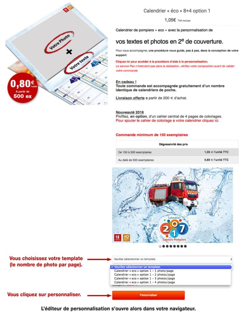 tutoriel de personnalisation en ligne de calendrier de sapeur-pompier 43, npc-calendrier.fr