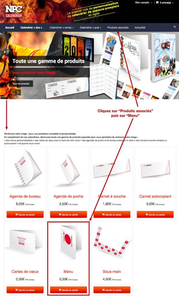 tutoriel de personnalisation en ligne de calendrier de sapeur-pompier 2, npc-calendrier.fr