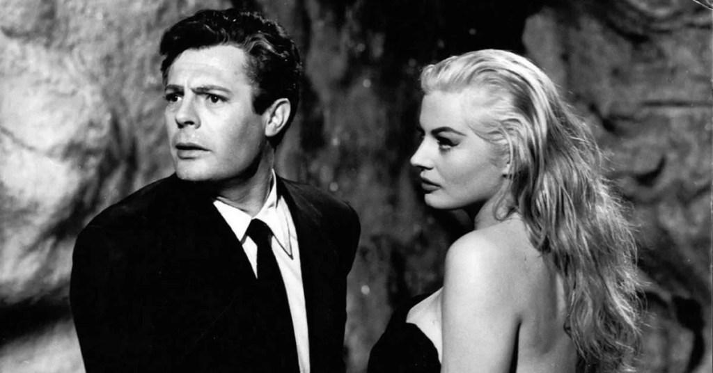 Marcello Mastroianni La dolce vita Anita Ekberg Federico Fellini