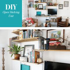 Diy Shelves In Living Room Decorate Modern Open Shelving Unit Mounted
