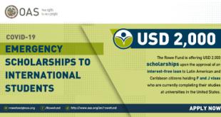 USA Leo S. Rowe Fund Covid19 Emergency Scholarship 2020 for International Students