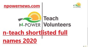 Npower Batch C List of Shortlisted Candidates for N-teach 2020/2021 check here